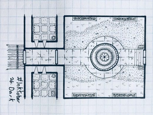 Inktober Day 26. Dark: Somewhere in the land of Barovia, a decaying castle court...