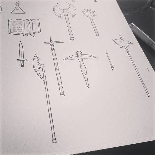 Working on some RPG icons today.  #rpg #osr #roleplaying #kickstarter #ink #pena...