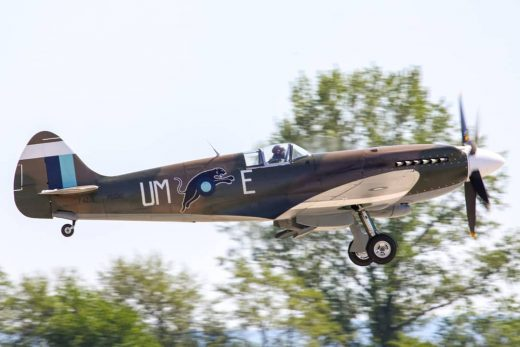 Spitfire Mk.XIX is getting airborne from runway 27 at Aviaticka Pout 2010. #spit...